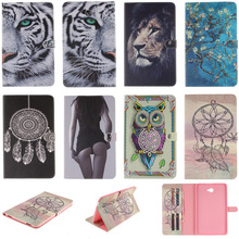 DEEVOLPO  Cartoon Tiger Lion Pattern PU Leather Flip Case For Samsung Galaxy Tab A 10.1 (2016) T580 Back Cover With Card Holder