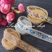 high quality colorful hot fix rhinestone tape,1 yard/lot,width 2cm,blue golden chain jewelry accessories rhinestone banding