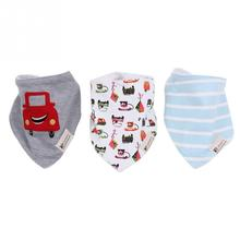 3pcs/lot Baby Bibs Triangle Soft Cotton Blended Baby Bibs Three Loaded Cars Newborn Baby Bibs kids bib for Boy and Girl(China)