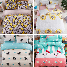 Fashion 4Pc Twin/Full/Queen/King Size Bedding Linen Quilt/Duvet/Doona Cover Set&Sheet Geo Traingular Sunflower Cat Hearts Rabbit