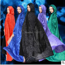 Free Shipping Adult Witch Long Green Red Blue Black Halloween Cloaks Hood and Capes Halloween Costumes for Women Men