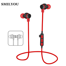SMILYOU T1 Sport Bluetooth Earphone for Phone Wireless Bluetooth Headset with Mic Wireless Earphones fone de ouvido TF card slot(China)