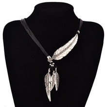 LNRRABC Punk 2016 Bohemian Leaves Sweater Chain Rope Feather Pattern Women Pendant Necklace Statement Jewelry Gift Silver