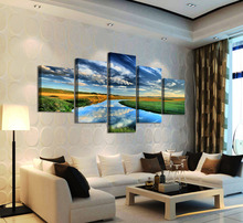 5 Pcs Canvas Painting Wall Art Blue Sky River Grassland Landscape Decorative Pictures for Living Room Bedroom Oil Prints UnFrame