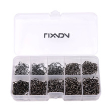 Lixada 600pcs Fishing Hook Jig Hooks with Hole Fly Fishing Tackle Box 3# -12# 10 Sizes Carbon Steel Fishhooks