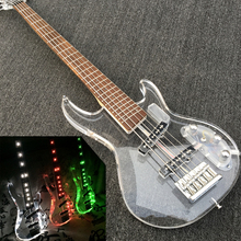 In Stock Acrylic 5 strings Electric Bass guitar, Factory Custom 5 String Bass guitar transparent acrylic Body & Head, LED light