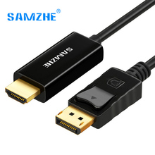 SAMZHE Displayport to HDMI Converter Cable 1080P HD DP Male to HDMI Male Adpater Cable Converter 1.8/3M for PC Laptop Projector(China)