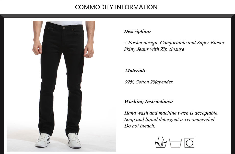 Alice & Elmer Pants Men Stretch Casual Pants For Men Slim Straight Pants Black Pantalones de hombre Jeans para homem 3