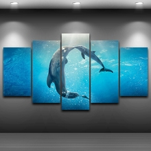 Pictures HD Printed Canvas Painting Living Room Wall Art 5 Pieces Marine Animal Kissing Dolphins Poster Home Decor Framed PENGDA