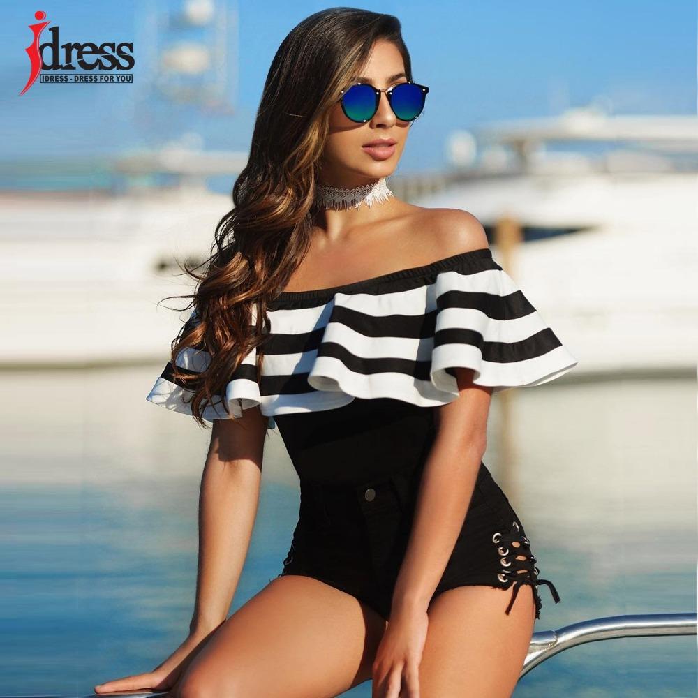 IDress Black and White Striped Bodysuit Women 2017 Summer Ruffles Strapless Off Shoulder Romper Backless Bodycon Women Jumpsuit (3)