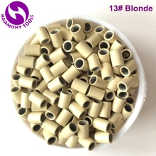 (1000pcs/bag, 3.0mm x 2.4mm x 4.0mm) HARMONY Blonde non flared copper micro rings tube without silicone for Itip hair extensions(China)