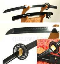 Folded Steel Clay Tempered BLack Blade Japanese Sword Katana Carved