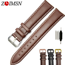 ZLIMSN Watchband Black Brown Genuine Leather Soft Watch Strap Band Buckle Replacement Fits Men Relojes Hombre 2017 18 20 22 24mm