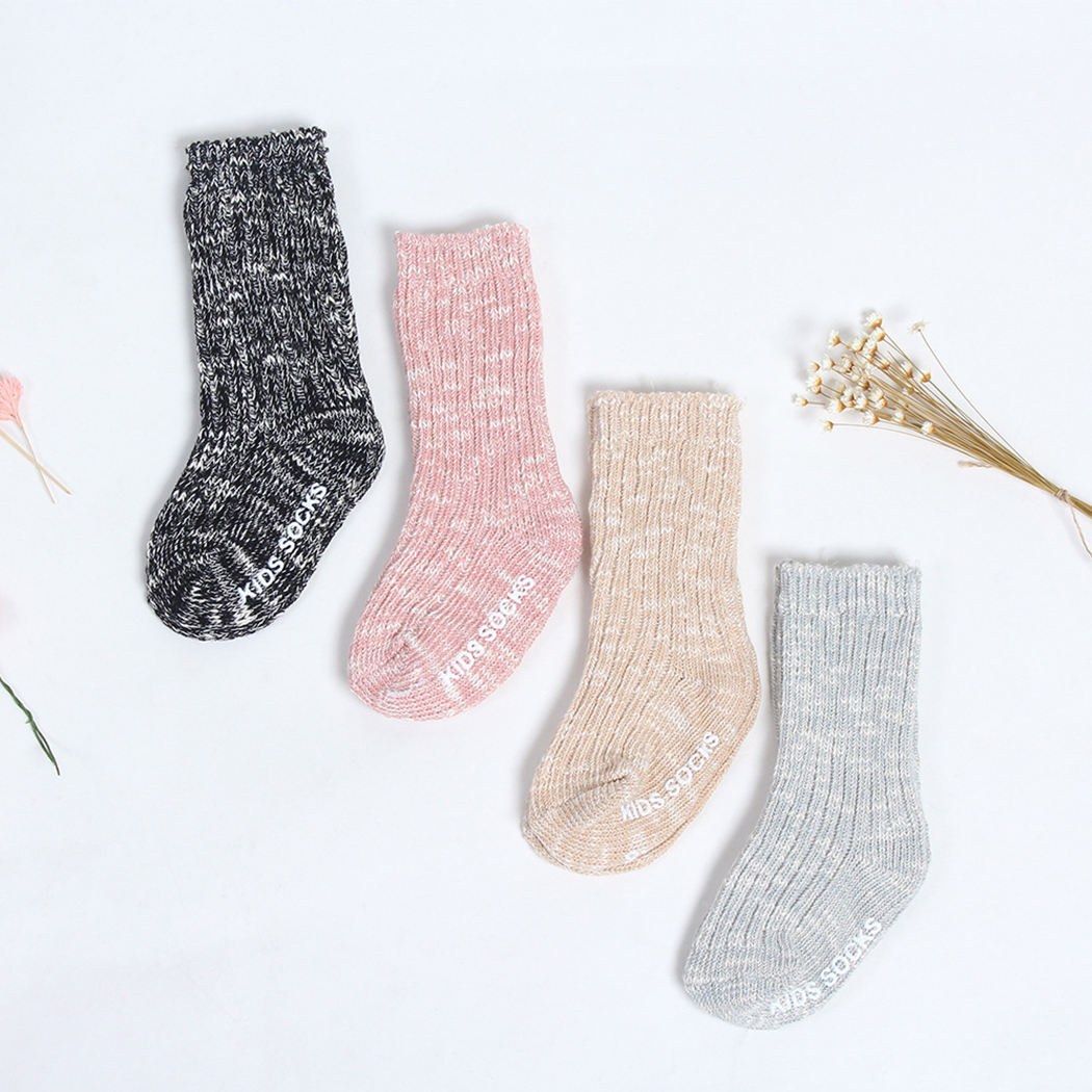4 Color Cotton Baby Socks Autumn Winter Thicken Warm Anti Slip Sock Newborn Boys Girls Socks Floor Wear Kids 0-4 Year
