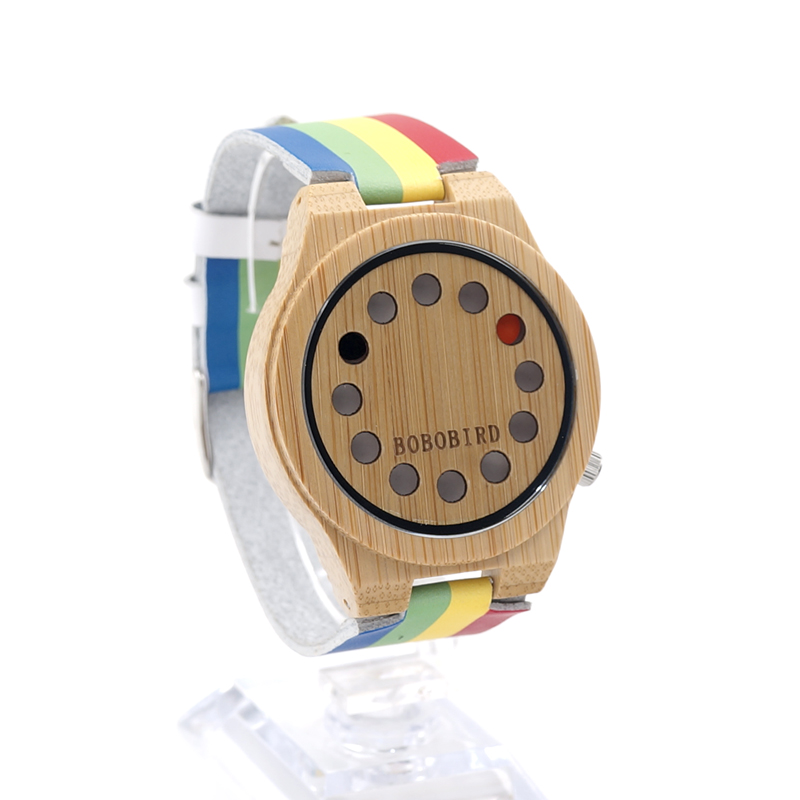 BOBO BIRD A01 Mens Wooden Watch 12 Holes Design Bamboo Dial Rainbow Band Quartz Watch in Gift Box montre homme marque de luxe<br><br>Aliexpress