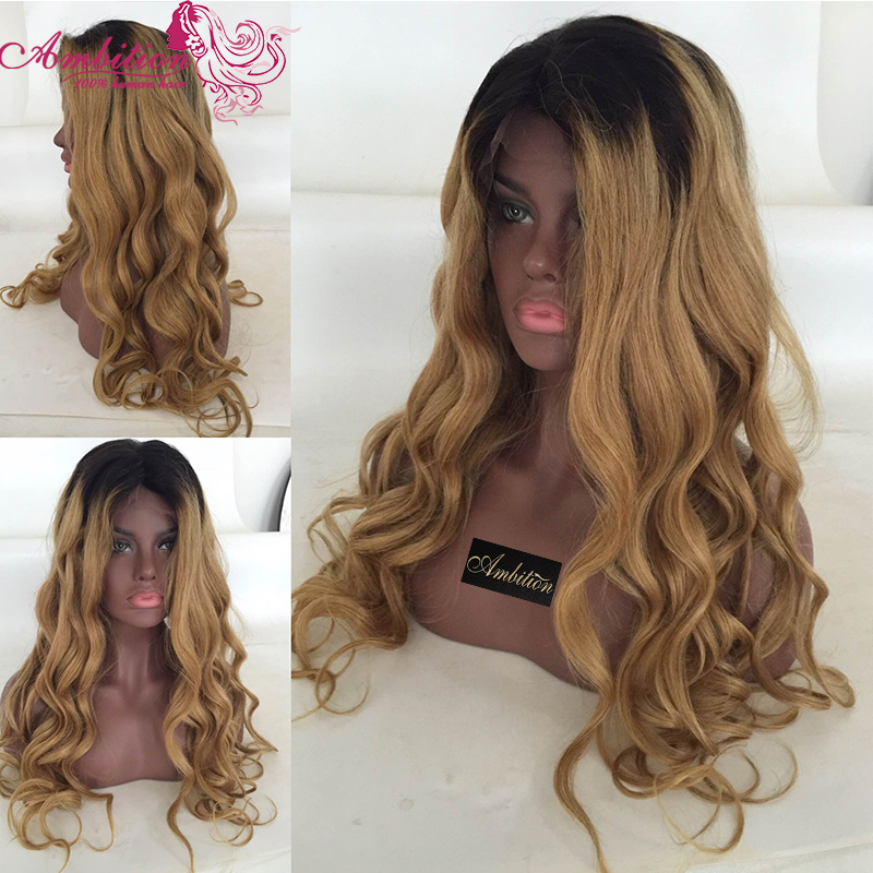 Fashion 1b/27 Ombre Brazilian Virgin Human Hair Full Lace Wig Front Lace Wig 150% Density Baby Hair Blonde Full Lace Hair Wigs<br><br>Aliexpress