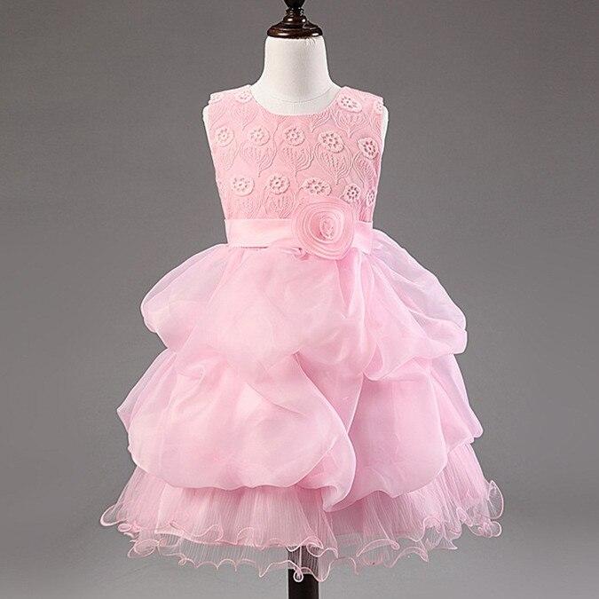Girls princess full dress Pink layered dresses with roses and lace ballgown dresses flowers  vestido de festa vestidos ninas<br>