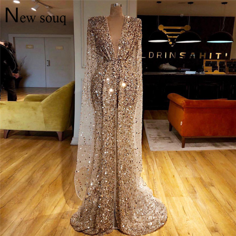 Champagne Gold Sparkly Fabric Middle East Kaftan Evening Dress Dubai Islamic Long Prom Dresses Mermaid Celebrity Party Gowns(China)
