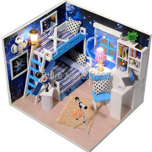 New Diy Wooden Miniature Doll House Manual Assembly Model Toys Dollhouses miniature Birthday Gift baby toy -Space is a dream(China)