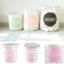 1Pc Vogue Pattern Linen Cotton Canvas Desk Home Decor Toys Storage Box Holder Laundry Basket Small/Middle/large Size #226339(China)