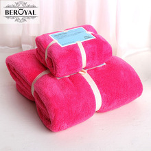 New 2017 Microfiber Towel Set  2pc/set Plush Bath Towel Super Absorbent Hand Towel Brand Beroyal Quick Dry Towels bathroom Adult
