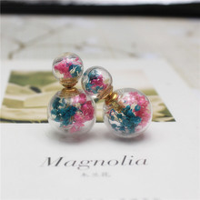 2016 new design summer style  fashion brand jewelry Dried Gypsophila double glass beads imitation pearl stud earrings for women