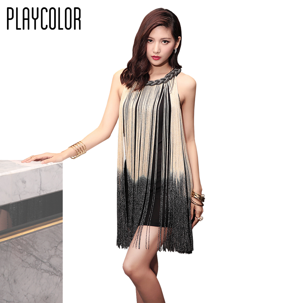 PLAYCOLOR Sexy Sleeveless Party Dress Girls Cocktail Dresses Short 2017 Prom Dresses Gowns Glitter Tassel Design _PD1605003(China)