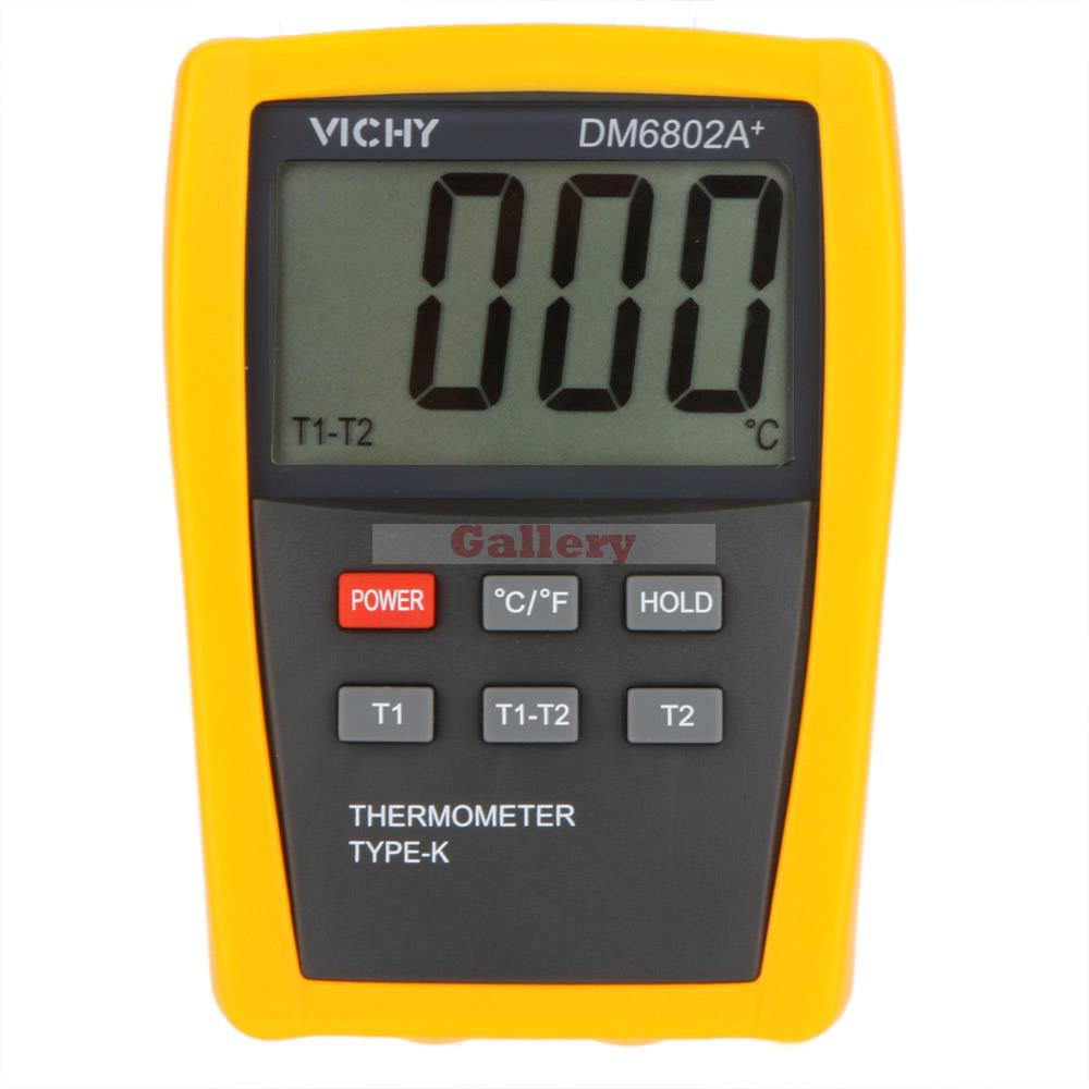 VICHY DM6802A+ LCD Digital Thermometer Temperature Meter w/Two K-Type Thermocouple Probes Measuring -50-1300 Degree<br>