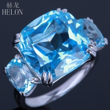 HELON Solid 10K White Gold 13.3ct Prong Set 100% Genuine Sky Blue Topaz Natural Diamond Engagement Wedding Party Jewelry Ring(China)
