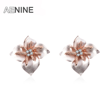 AENINE Austrian Crystal Enamel Big Flower Earrings Rose Gold Color Alternative National Wind Stud Earrings Jewelry L20200232646b(China)