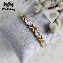 WelMag 2017 Fashion Crystal Gem Woman Magnetic Bracelet Top Quality Stainless Steel Germanium Healing Jewelry Energy Bio Bangles