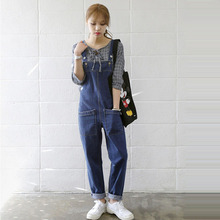 2017 Vintage Clothes Women Jumpsuits Solid Pockets Washed Denim Overalls Rompers Female Casual BF Style Loose Jeans Jumpsuits