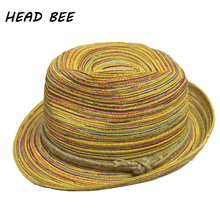 [HEAD BEE] 2017 Sun Hats for Women Camouflage Adult  Summer Cap Sunbonnet Bowknot Linen Straw Hat Large Beach for Women and Men
