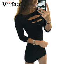Buy Viifaa Ripped Sexy Dress Women 2017 Three Quarter Sleeve T Shirt Dresses Summer Black Bodycon Vestidos Club Dress for $9.26 in AliExpress store
