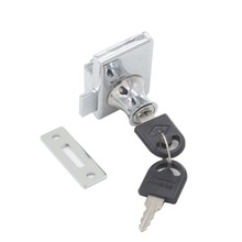 Double Glass Door Lock fit for 5-8mm Thickness Glass With Keyed Alike or Different for Showcase Cabinet Glass Lock(China)