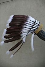 Dark brown indian feather headdress american costume indian warbonnet with gold headband feather costumes halloween decor