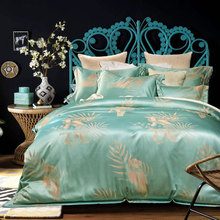 Modern Design Jacquard Bedding Set Queen King Size Satin Duvet Cover 200*230 220*240 and Cotton Bed Sheets 250*250 250*270 cm