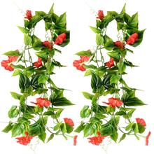 2pcs Artificial Vines Morning Glory Hanging Green Plants Silk Garland Home Garden Wall Fence Wedding Hanging Baskets Decoration(China)