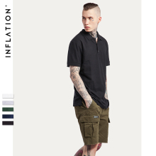 INFLATION 2017 New Style Summer US Men's Classic Shirt Short Sleeve Uniforms Plain Color Cotton(China)
