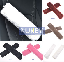 XUKEY Faux Sheepskin Wool Fur Auto Car Seat Belt Shoulder Pads Cover Winter Fluffy Harness Seatbelt Seat Covers Car Styling Pink