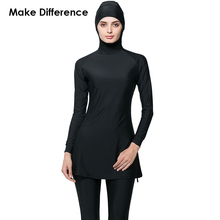 Make Difference Solid Black Islamic Swim Wear Modest Swimwear 2 Pieces Connected Hijab Muslim Swimsuit Burkinis for Women Girls