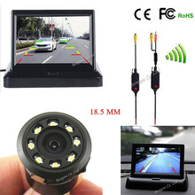 Wireless Parking camera 8 infrared Light nigh vision back up rearview cam with 4.3 inch Folding TFT LCD Monitor Screen System