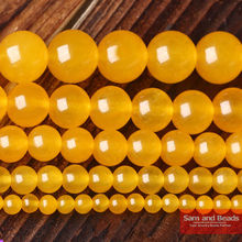 "Free Shipping Round Yellow Chalcedony Beads Smooth Beads Fashion Jewelry Beads For Jewelry Making Diy Bracelet Strand 16"" YJB01(China)"