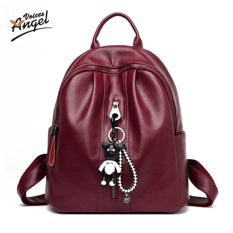 Famous Brand Genuine Leather Women Backpacks Solid Vintage Girls School Bags for Girls Black Sheepskin Leather Women Backpack<br>