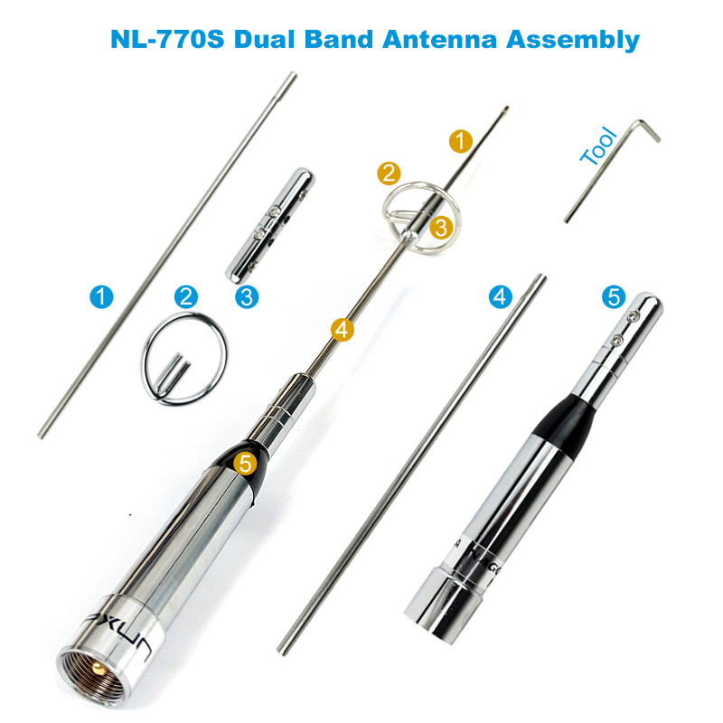 NL-770S Dual Band Antenna RB-400 Antenna Mount Bracket Clip 5M Coaxial Cable Kit For Car Radio 3
