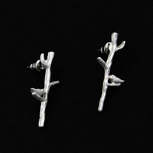 free shipping 12 pair /lot fashon jewelry accessories metal bird twig branches stud earrings for women