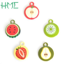 High Quality Random Mixed 5-6pcs/bag Enamel Metal Alloy Fruit Charm Pendant For DIY Earring Bracelet Necklace Jewelry Findings