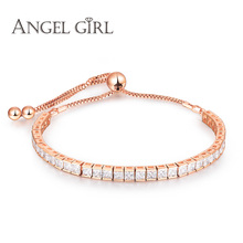 Angel Shining AAA+ rose Gold Bracelet for Women Ladies Cubic Zircon Crystal Jewelry Gift manchette femme Bracelets & Bangles