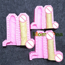 Buy Mom&Pea 1270-2 Free Shipping Penis Shaped Silicone Mold Cake Decoration Fondant Cake 3D Mold Food Grade