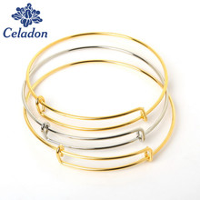 Hot 10pcs/lot Gold Silver Plated Charming Expandable Bangles Women Lady Wire adjustable bangle Bracelet For fashion gift Charms